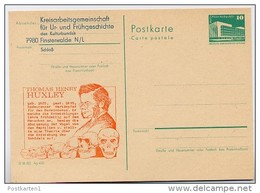 DDR P84-1-84 C58 Postkarte Zudruck THOMAS HUXLEY Finsterwalde 1984 - Célébrités