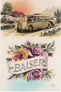 """REF105 ANCIEN AUTOBUS DESSOUS BOUQUET DE ROSE AVEC RUBAN """"UN BAISER"""" - Cartoline"""