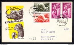 RIO MUNI 1962 FDC  SOBRE 1er DIA. DIA DEL SELLO. FAUNA LOCAL     EDIFIL Nº 32/34  CN1171 - Río Muni