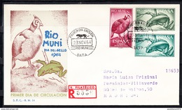 RIO MUNI 1964 FDC  SOBRE 1er DIA.DIA DEL SELLO  FAUNA      EDIFIL Nº 57/59  CN1175 - Río Muni