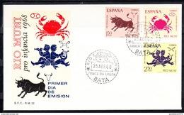 RIO MUNI 1968 FDC  SOBRE 1er DIA. PRO INFANCIA  SIGNOS DEL ZODIACO     EDIFIL Nº 83/85.   CN1181 - Río Muni