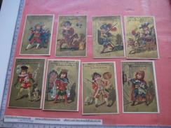 8 Litho Cartes Trade Cards Set Compl. Impr Printer Courbe Rouzet 1-3-1 Caricatures Songs PUB C1880 Dagobert Don Quichot - Chromos