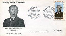 19739 Mauritanie, Fdc  1968  Konrad Adenauer, German Chancelier, - Célébrités