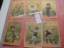 6 Litho Cartes Trade Cards Compl. Set CR 1-1-4 Impr Printer Courbe Rouzet PUB C1880 -  S. Cahen  à GRENOBLE & Lyon - Chromos