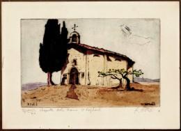 """Reynold Oscar DISTELI (1893-1969 Suisse) Gravure """"Chapelle Notre Dame """" à Saint Raphael Var Epreuve 40 / XXè - Gravure"""