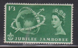 GREAT BRITAIN - Scott # 336 Mint Hinged - Nice Stamp QEII Jubilee Jamboree - 1952-.... (Elizabeth II)