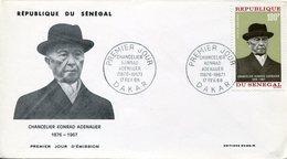 19743 Senegal, Fdc  1968  Konrad Adenauer, German Chancelier, - Celebridades