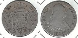 ESPAÑA CARLOS IIII 8 REALES 1803 SEVILLA PLATA SILVER DIFICIL NP - Colecciones