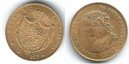ESPAÑA ISABEL II 4 ESCUDOS 1867 ORO GOLD  MADRID - [ 1] …-1931 : Reino