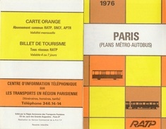 RATP Paris  Plans Métro-Autobus 1976 - Europe