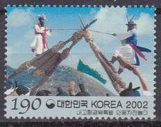 2002 South Korea Coree De Sud - Regions Gyeongbuk Game With Tied Logs 1v., Tourism, Local Culture Sc#2094 MNH - Costumes