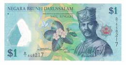 Brunei 1 Ringg. 2011, UNC Polymer Note.  Free Ship. To USA. - Brunei