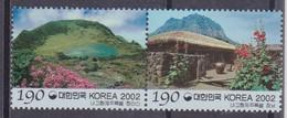 2002 South Korea Coree De Sud - Regions Jeju Traditional House & Gate, Mt Halla Pair  2v., Tourism, Geology Sc#2098 MNH - Vacances & Tourisme