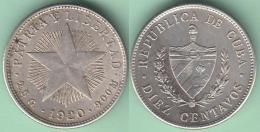 1920-MN-119 CUBA. 20c SILVER 10c STAR 1920. ESTRELLA RADIANTE. XF . - Cuba