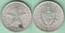 1949-MN-108 CUBA. 20c SILVER ABC REPUBLICA 1949 . ESTRELLA RADIANTE. XF PLUS 5 Gr. - Cuba