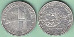 1952-MN-116 CUBA. 40c SILVER ABC REPUBLICA 1952 . 50 ANIV REPUBLICA. DEMAJAGUA. XF 10 Gr.