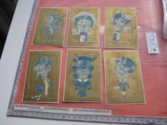 6 Litho Cartes Trade Cards Compl Set CR 1-1-29 Printer Courbe Rouzet NO PUB C1880 Dos Blanc Pas PUB Caricatures Fon D'or - Chromos