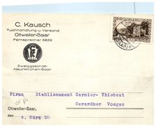 OTTWEILER - SAAR - C. KAUSCH - Fernsprecher (pli Coin)  (oblitération) - Kreis Neunkirchen