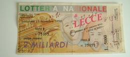 LECCE ABBINATO AL CONCORSO LIRICO TITO SCHIPA  1990   LOTTERIA NAZIONALE CON MATRICE LOTTERY TICKET - Biglietti Della Lotteria