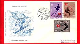ITALIA - 1966 - FDC - Busta Filagrano - Universiadi Invernali - Viaggiata - Annullo Di Torino - F.D.C.