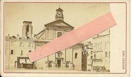 Photo  15,5 Sur 6,5 Cm 1870 Clermont-ferrand église Des Minimes Avec Magasin GRAVEROL Et Grand Hôtel - Photographs