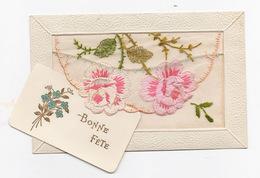 Carte Brodée > Voeux De Bonne Fête - Cartes Avec Pochette En Organdi Brodé Avec Carte Message - - Embroidered