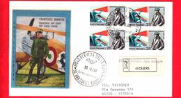 ITALIA - 1968 - FDC - Busta Filagrano Gold - Francesco Baracca - Viaggiata - Raccomandata - Annullo Di Nervesa (TV) - 1946-.. République