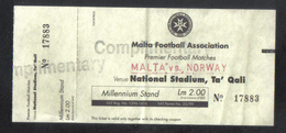 MALTA  -   MALTA  Vs  NORWAY      ( MATCH TICKET 1999 ) - Match Tickets