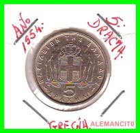 GRECIA -  GREECE  MONEDA  --  DE  5  DRACHMAI  AÑO 1954   -   Copper-Nickel, 27,5 Mm. - Grecia