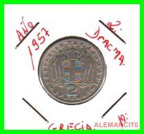 GRECIA -  GREECE  MONEDA  --  DE  2  DRACHMAI  AÑO 1957   -   Copper-Nickel, 22,9 Mm. - Grecia
