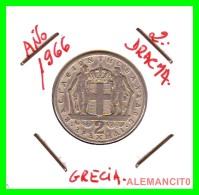GRECIA -  GREECE  MONEDA  --  DE  2  DRACHMAI  AÑO 1966   -   Copper-Nickel, 22,9 Mm. - Grecia