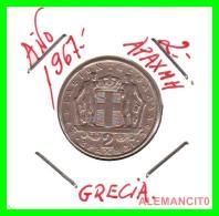 GRECIA -  GREECE  MONEDA  --  DE  2  DRACHMAI  AÑO 1967   -   Copper-Nickel, 22,9 Mm. - Grecia