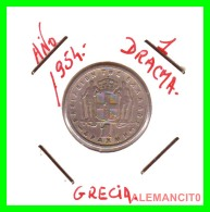 GRECIA -  GREECE  MONEDA  --  DE  1  DRACHMA  AÑO 1954   -   Copper-Nickel, 20,8 Mm. - Grecia