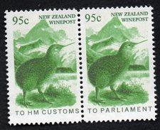New Zealand Wine Post Green Kiwi Officials Customs And Parliament Overprint  Jioned Se-Tenant Pair. - New Zealand