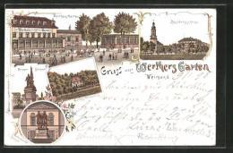 Lithographie Weimar, Gasthaus Werther's Garten, Residenzschloss, Kriegerdenkmal - Weimar
