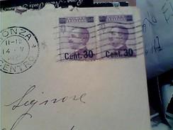 BUSTA DA MONZA X GIUSSANO MICHETTI COPPIA 50 C SOPRASTAMPA 30 C. 1925 GB13280 - Storia Postale