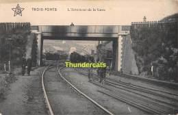 CPA TROIS PONTS L'INTERIEUR DE LA GARE TRAIN - Trois-Ponts