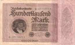 ALLEMAGNE   100,000 Mark   1/2/1923   P. 83a - [ 3] 1918-1933 : République De Weimar