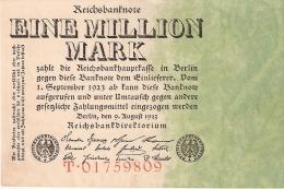 ALLEMAGNE   1 Million Mark   (Uniface)   9/8/1923   P. 101 - [ 3] 1918-1933 : Weimar Republic