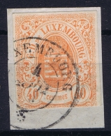 Luxembourg : Mi Nr 11  Used / Obl   On Fragment Signed/ Signé/signiert/ Approvato - 1859-1880 Armoiries