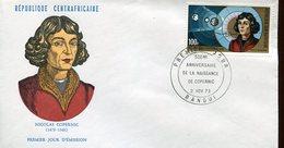19745 Centrafrique,  Fdc  1973  Nicolas  Kopernikus, Copernic, Kopernika, - Astronomùia