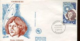 19746 Comores,  Fdc  1973  Nicolas  Kopernikus, Copernic, Kopernika, - Astronomùia