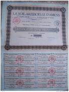 ACTIONS LA SOIE ARTIFICIELLE D'AMIENS 1927 - Industrie