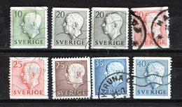 1957  König  Gustav VI  Lot De 8 Timbres