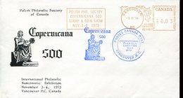 19757 Canada Special Cover + Postmark Vancouver,red Meter 1973-  500th Anniv.  Nicolas  Kopernikus, Copernic, Kopernika, - Astronomùia