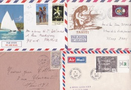POLYNESIE OCEANIE Lot De 4 Lettres - Tahiti - Polynésie Française
