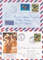 POLYNESIE - 2 Lettres Avec Timbre Autocollant 42f Obl ARUE Et PUNAAUIA Ile Tahiti - French Polynesia