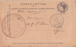 """Carte Lettre FM Du CORPS EXPEDITIONNAIRE DE MADAGASCAR """"""""1895"""""""" Pour Lyon - Cachet D'arrivée - Madagaskar (1889-1960)"""