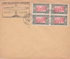 """Griffe """""""" AEROMARITIME COTE OCCIDENTALE D'AFRIQUE 1ER VCOYAGE MARS 1937 """""""" Sur Lettre Obl ZIGUINCHOR SENEGAL - Poste Aérienne"""
