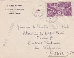 """Lettre à En-tête """""""" INSTITUT PASTEUR DE L'AFRIQUE OCCIDENTALE FRANÇAISE DAKAR SENEGAL """""""" Sur Lettre Affrt AOF 8f - Louis Pasteur"""